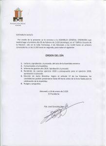 Asamblea General Ordinaria @ Aula Polivalente Escuela de Música | Almoradí | Comunidad Valenciana | España